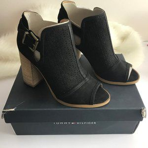 Tommy Hilfiger Prema Peep Toe Booties Black